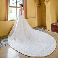 2014 New design satin luxury train laciness tube top princess wedding dress formal bride dress Freeshipping