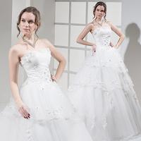 2014 New bandage fashion sweet bride small train lace princess wedding dress Freeshipping