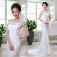 2014 new fish tail train princess lace wedding dress bride dress evening dress Freeshipping