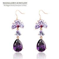 Neoglory  Rhinestone Rose Gold Plated Zircon Dangle Drop Earrings For Women 2014 Spring New Arrival