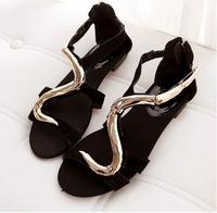 golden snake sandals black  ladies flat sandals summer women flat shoes new GZ flat sandals 2014 brand flat sandals for women