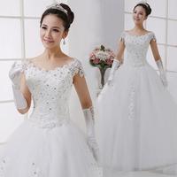 2014 Hot sale white sweet princess wedding dress slit neckline diamond decoration bride dress Freeshipping