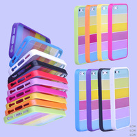 Wholesale 10pcs/lot Combo TPU PC Rainbow Hard Back Cover Case For iphone 5 5G 5S