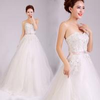 2014 New tube top bandage white soft material high waist wedding dress Freeshipping