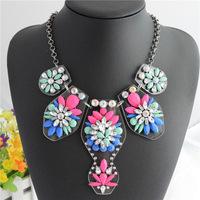 Hot Trend Fashion Chain Chunky Necklace Statement Necklaces & Pendants Fashion Flower Necklace 2014 Women Gift Wholesale