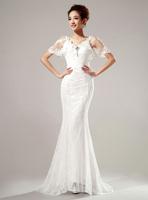 Urged bride wedding formal dress 2014 short trailing princess fish tail wedding dress Freeshipping