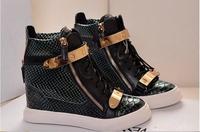 GZ wegde sneaker 2014 high top sneakers for women brand fashion GZ  women sneakers genuine leather GZ sneaker unisex flats shoes