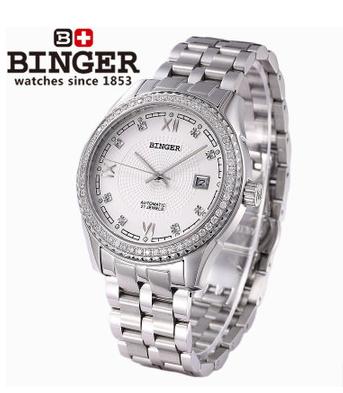 Classic 3 Hands Roma Date Display Silver Full Steel Business Dress Automatic Mechanical Self Wind Watch CZ Diamond Wristwatch(China (Mainland))