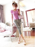 2014 black and white vertical stripe lattice capris women's capris ankle length trousers belt