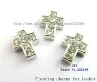 Mix Min Order $10 wholesale price !10pcs Zinc Alloy Rhinestone Cross Floating Charms