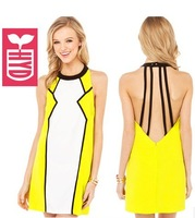 Free shipping 2014 Summer Womens hang a neck sleeveless backless Colorful yellow white Splicing bandage dress,holiday