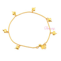 Romantic  Womens 18K Gold Filled Anklets Chain Heart Beaded Chains Anklet Jewelry