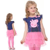2014 New Summer Girl Dress Peppa Pig Cake Pleated Dress Mini Puff Sleeve Dress For 2-6 Year Old Girl Kids Lovely Princess Dress