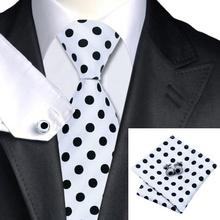 SN-1057 Black White Dot Tie Hanky Cufflinks Sets Men's 100% Silk Ties for men Formal Wedding Party Groom(China (Mainland))
