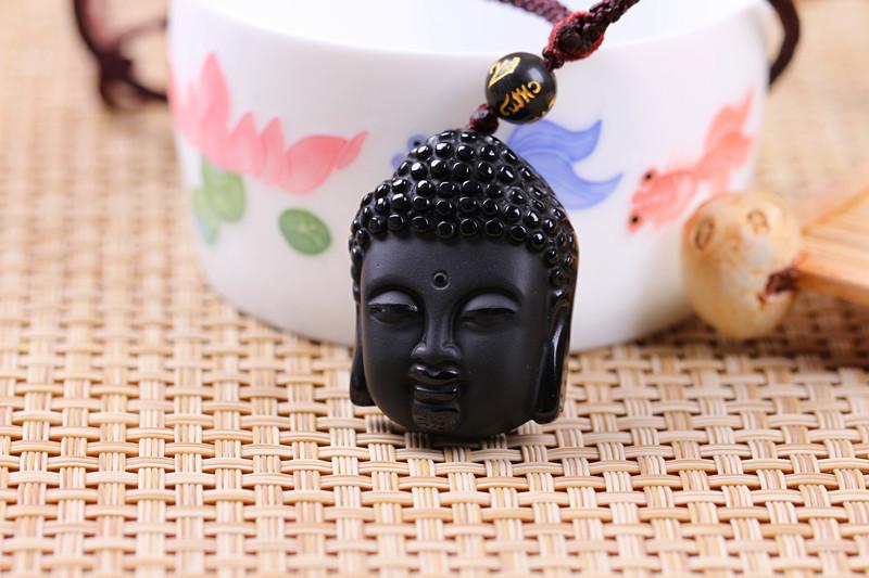 Hot Sale Natural Crystal Stone Obsidian Buddha Head Pendant Mean Male Fashion pendant wholesale price(China (Mainland))