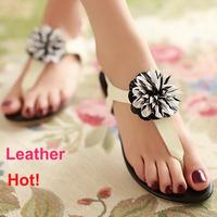2014 New Coming Genuine Real Leather Big Flower Flip Flops Women Black Red Pink Sandalias Femininas Flat Sandal Drop Shipping