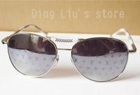 2014 New Brand Metal Sunglass Eyewear Silver Frame Lens Polarized Sunglass Men's/Woman's Brand Sunglass  Lens 58mm