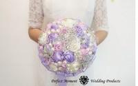 EMS Free shipping Luxury Bridal Brooch Bouquet Silk Rose Bridal Flower Wedding Pearl Bouquet Blue Wedding Accessory