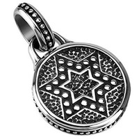 Hollywood Star Western Brand Classic Luxurious Vintage Statement Stainless Steel Star of David Medallion Pendant