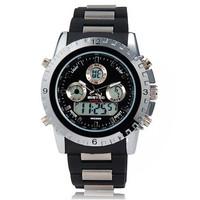 BISTEC 1101A Men's Round Dial quartz Analog & Digital Display Dual-Movement Stylish men Wrist Watch with Alarm & Light (White)