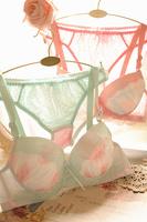 Gradient chiffon ice cream sweet underwear push up side gathering bra set