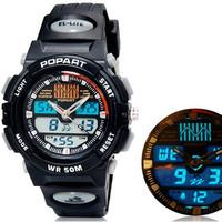 POPART A96 Unisex Dual Movement Digital Waterproof Sports Watch with Backlight (Black) M.