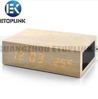 Hotsale Gift i Wireless Charging Pad Mat Wooden Bluetooth Alarm Clock Speaker for Mobile with tracking number free