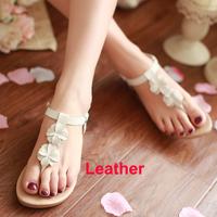 2014 New Coming Genuine Soft Leather Flowers Flat Flip-flop Sandal Women Sandals Sandalias Rasteiras Lady Summer Footwear Hot
