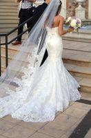 New Arrival  White Lace 3 Meters Long Elegant Novia Bridal Veil 2014