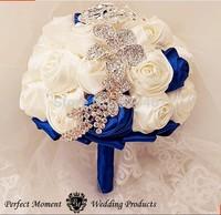 EMS Free shipping Luxury Bridal Brooch Bouquet Silk Rose Bridal Flower Wedding Pearl Bouquet Purple Wedding Accessory