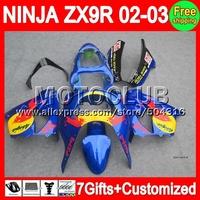 NEW Blue yellow 7gifts+Body For KAWASAKI NINJA ZX9R 02-03 ZX-9R C1810 ZX 9R 9 R ZX9 R 02 03 2002 2003 Fairing  NEW Black blue