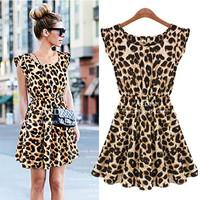 Fashion Brand Ladies dress O-neck Leopard Print mini Casual Microfiber Sundress Oversized S-XXL BLY018-10-0