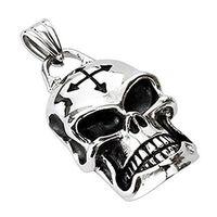 Fashion Stainless Steel Barbed Cross Rider Skull Pendant For Men