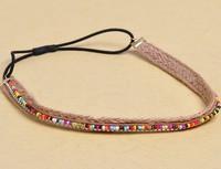 freeshipping wholesale retail fashion vintage  bohemian Linen colorful beads popular fashion hair accessories