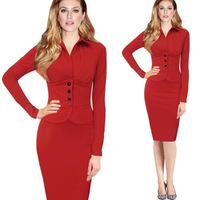New fashion 2014 autumn midi dress OL long sleeve high waist skinny dresses plus size women work wear clothing red/black