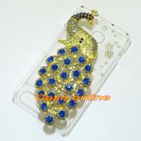 1 Pcs Handmade Bling Peacock Clear Hard back case For Sony Xperia E1 D2004 D2005 D2104 D2105 D2114