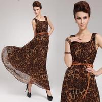 free shipping 2014  expansion bottom one-piece dress leopard print silk chiffon full sleeveless tank with belt 8093