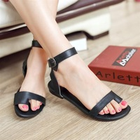 2014 Ladies genuine leather clip toe Ankle strap Roman style Flat sandals comfortable flat flip-flop female sandals for wome