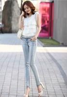 2014 New Korean hot drilling high tide was thin Slim jeans women pants pants feet hip lady long pants M1030 Free shiping