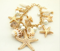 2014 New Marine Style Bracelets&Bangles Conch Starfish Pearls Fashion Elegant Charms Women Jewelry Min Order is $10 Can Mixed
