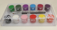 12 Colors Pro Acrylic Paint Nail Art Polish 3D Paint Decor Design Tips With 2 Pcs Nail Brushes