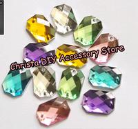 Retail 100pcs/lot Mixed 6 Colors Sewing Rhinestone Acrylic Colorful Fake Stones DIY Wedding Dress Accessory Free Shipping