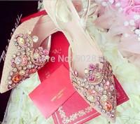 Fashion rc wedding shoes rhinestone pointed toe high-heeled shoes women sandals  S616