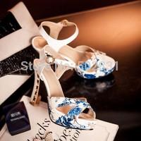 2014 women's genuine leather shoes strap high-heeled shoes thick heel platform print plus size platform open toe sandals S615