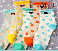 6 Colors New 2014 Spring-Summer Women's Cute Bear Polka Dot Socks Ladies Cotton Short Socks Free Shipping SN W765