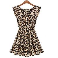 Summer Women Dress Elegant Classical Vintage Sleeveless Leopard Loose M L XL XXL Casual Mini Print Dress