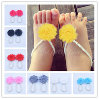 Promotion New Baby Barefoot Sandals with Flowers First walkers Newborn Summer Shoes Kids Toddler Shoes Baby Baptism Gift
