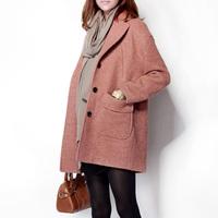 Wool turn-down collar overcoat medium-long orange pink wool overcoat outerwear orange female wool coat outerwear female