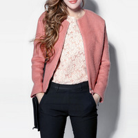 2014 new arrival fashion loose plus size loose woolen outerwear short design overcoat female pink top short jacket all-match