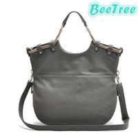 Grey khaki high quality  pu leather women handbag messenger shoulder women foldable bag